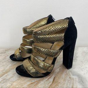 Christian Louboutin Mehari Gold Leather Heels